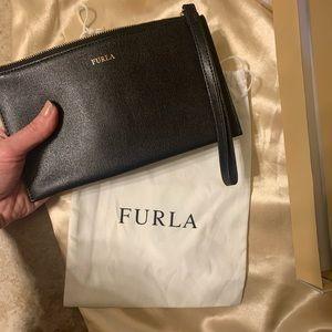 Black Furla Wristlet Clutch Wallet. New Condition.
